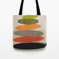 mid century modern Tote Bags featuring Mid-Century Modern Ovals Abstract by Kippygirl
