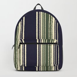 Navy blue and sage green stripes Backpack