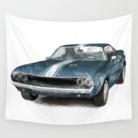 muscle Wall Tapestries featuring Classic Muscle Car by Boehm Graphics