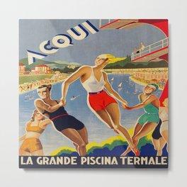 Acqui Italy Vintage Travel Poster Metal Print