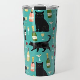 Black cat wine champagne cocktails cat breeds cat lover pattern art print Travel Mug