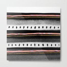Pattern Play / Pink, Gold & Black Metal Print
