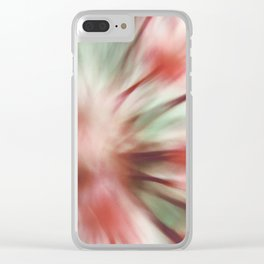 Modern Floral Macro Abstract Coral Pink Mint Green Clear iPhone Case