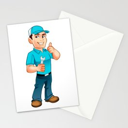 Handyman worker with key in the hand Stationery Cards
