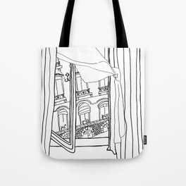 Window View in France  //  ink drawing Tote Bag