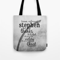 stephen king Tote Bags featuring Stephen by KimberosePhotography