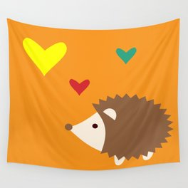 hedgehog orange Wall Tapestry