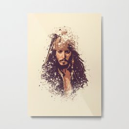 Jack Sparrow splatter painting Metal Print