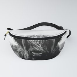 Scottish Highland Cattle Black and White Animal Fanny Pack
