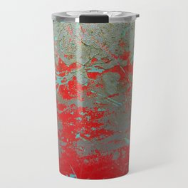 texture - aqua and red paint Travel Mug