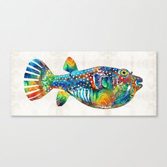 Puffer fish art blow puff by sharon cummings canvas for Puffer fish art