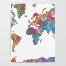 World Map - Watercolor 3 Poster