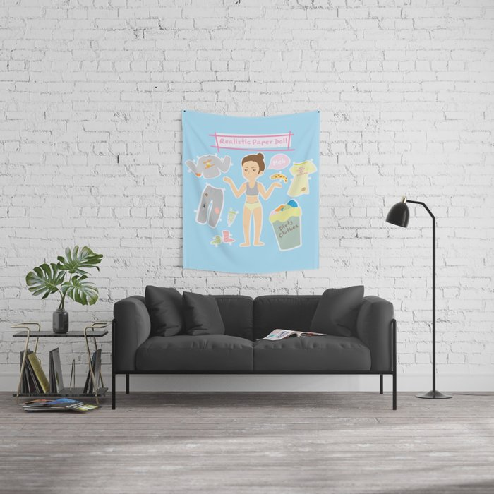 Realistic Paper Doll Wall Tapestry