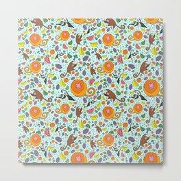 Cute Rainforest Pattern Metal Print