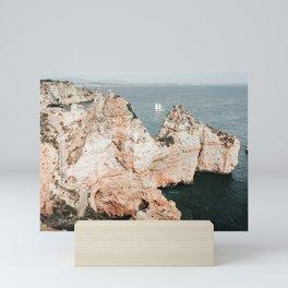 Rocky coastline of Ponta da Piedade, Portugal Mini Art Print