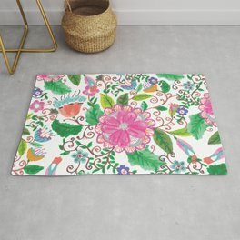 Hand made watercolor pink agate green floral Rug