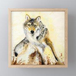 Totem Grey wolf Framed Mini Art Print