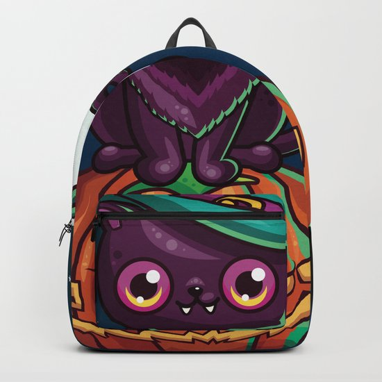 Ferociously Cute Halloween Vampire Witch Kitty Cat Backpack