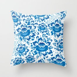 Vintage shabby Chic spring romantic pattern with sky blue flowers Throw Pillow