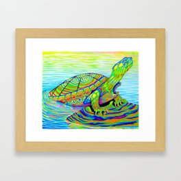 Colorful Psychedelic Neon Painted Turtle Rainbow Turtle Framed Art Print
