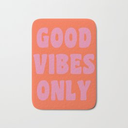 Retro Good Vibes Only Lettering in Pink and Orange Bath Mat