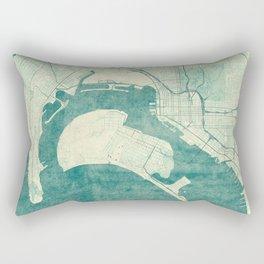 San Diego Map Blue Vintage Rectangular Pillow