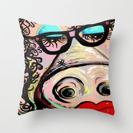 Hipster Pig Throw Pillow