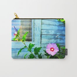 Country Blue Barn Wood Flag Carry-All Pouch