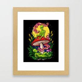 Aliens Magic Mushrooms Smoking Psychedelics Framed Art Print