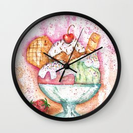 Ice Cream Watercolor Wall Clock