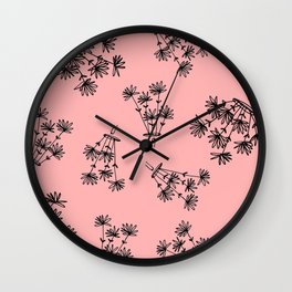 pink flower eaters Wall Clock