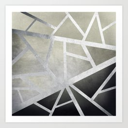 Textured Metal Geometric Gradient With Silver Art Print