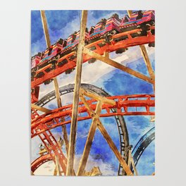 Fun on the roller coaster, close up Poster