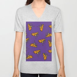 Pepperoni Pizza Dripping Cheese by the Slice Pattern (purple) Unisex V-Neck