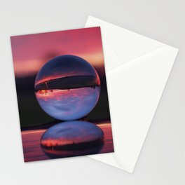 Sunrise in the countryside captured in a sphere. Stationery Cards