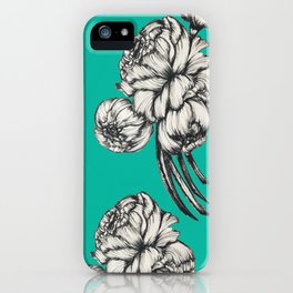 Inked Peonies in Turquoise Pattern iPhone Case
