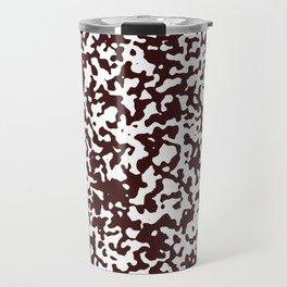 Small Spots - White and Dark Sienna Brown Travel Mug