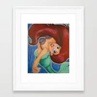 ariel Framed Art Prints featuring Ariel by carotoki art and love