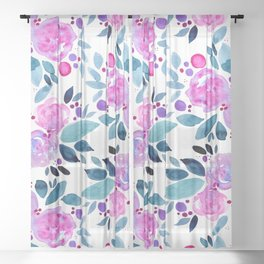 Abstract roses bouquet - pink and teal Sheer Curtain