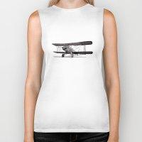 aviation Biker Tanks featuring Curtiss Fledgling Junior by Rik Reimert