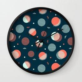 Navy Orbs Wall Clock