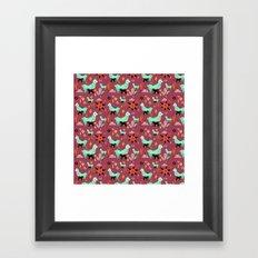 Llama At Dusk pattern Framed Art Print