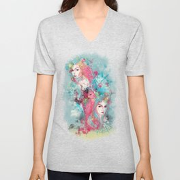 Animal beauties talking about love Unisex V-Neck