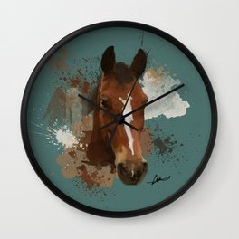 Brown and White Horse Watercolor Dark Wall Clock