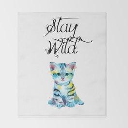 Stay Wild - kitten illustration Throw Blanket