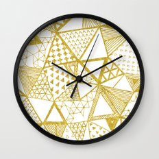 Golden Doodle triangles Wall Clock