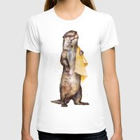 otters T-shirts featuring otter by Laura Graves