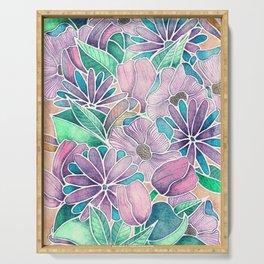 Blossoming - lilac, mint & aqua  Serving Tray