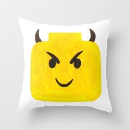 Emoji Minifigure Devil Throw Pillow