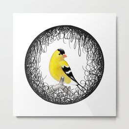 Hand Drawn Yellow Finch Metal Print